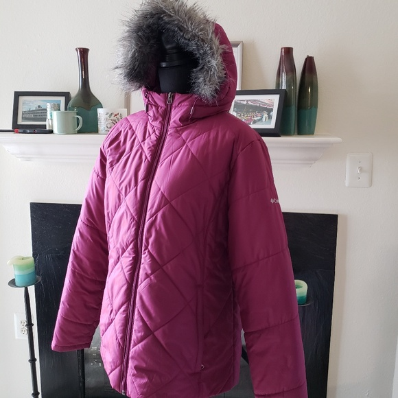 Columbia Puffer Jacket with Faux Fur Trimmed Hood